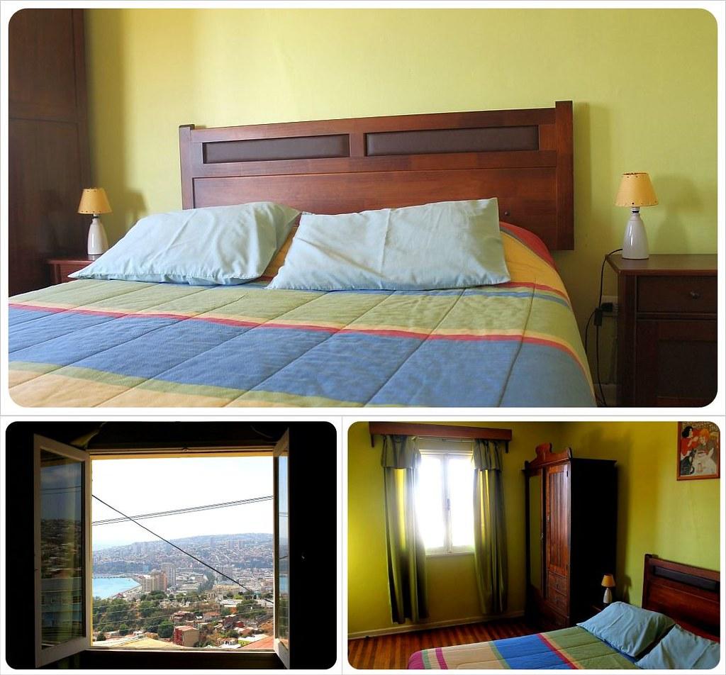 Valparaiso Casa Kreyenberg B&B room and view