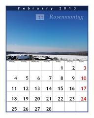 calendar Februar 2013 , Kalender