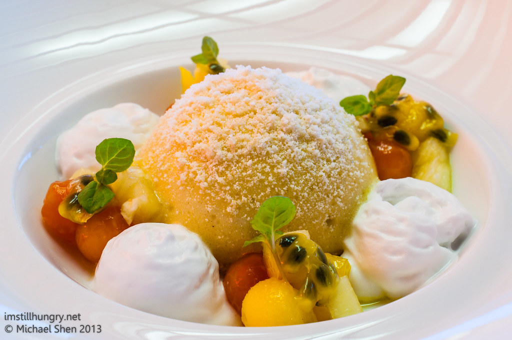 Universal - little miss sunshine - passionfruit, banana & yoghurt sorbet dome, coconut clouds, mango & papaya