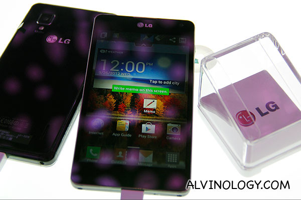 Front and back view of the LG Optimus G