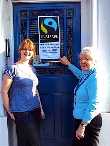 Blathnaid McCauley SSL (right), former Chaplain to Brighton University, hosting a Christian Aid Presentation on Fair Trade Issues