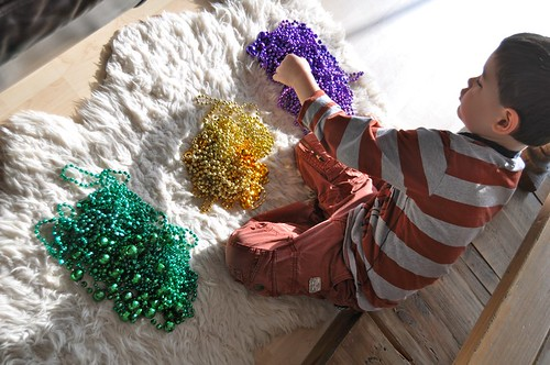 Sorting Mardi Gras Beads by Color
