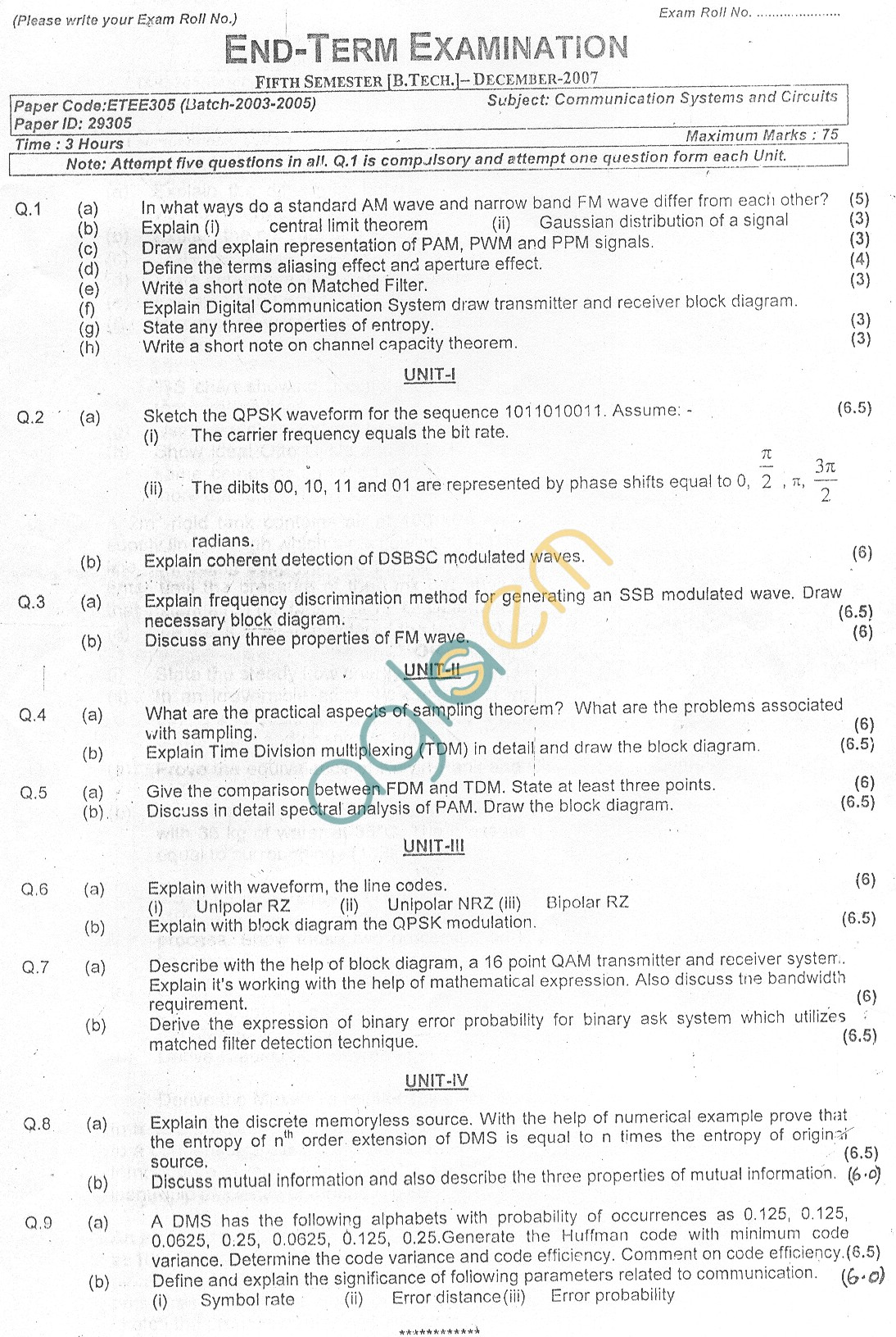 GGSIPU Question Papers Fifth Semester – end Term 2007 – ETEE-305