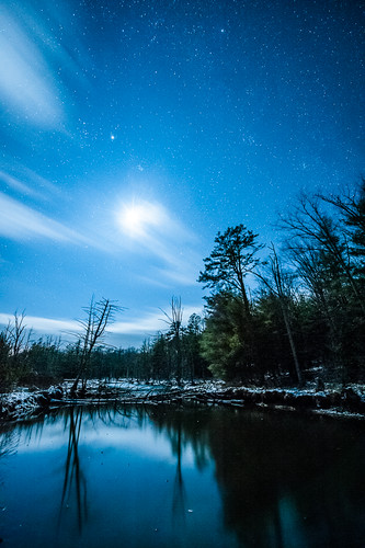 sky moon reflection water night dark stars moonlight wetland