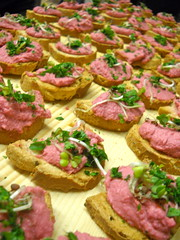 hors d'oeuvre, meal, breakfast, bruschetta, baked goods, food, dish, canapã©, cuisine,