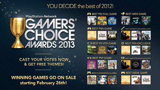 PSN Gamers' Choice Awards 2013 Nominees: Voting Opens Today