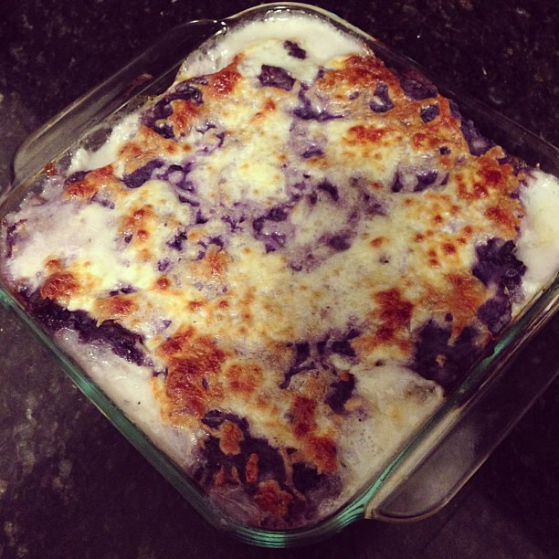Eliza's fisherman's pie. (It isn't burned, those are purple potatoes.)