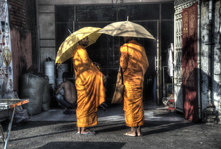 Waiting for their Prasad — លោកសង្ឈសូមទាន