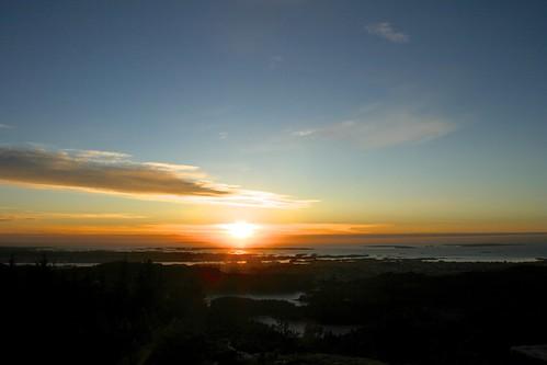View of Haugesund in the sunset, from Steinsfjellet towards the Atlantic Ocean by lstuvik