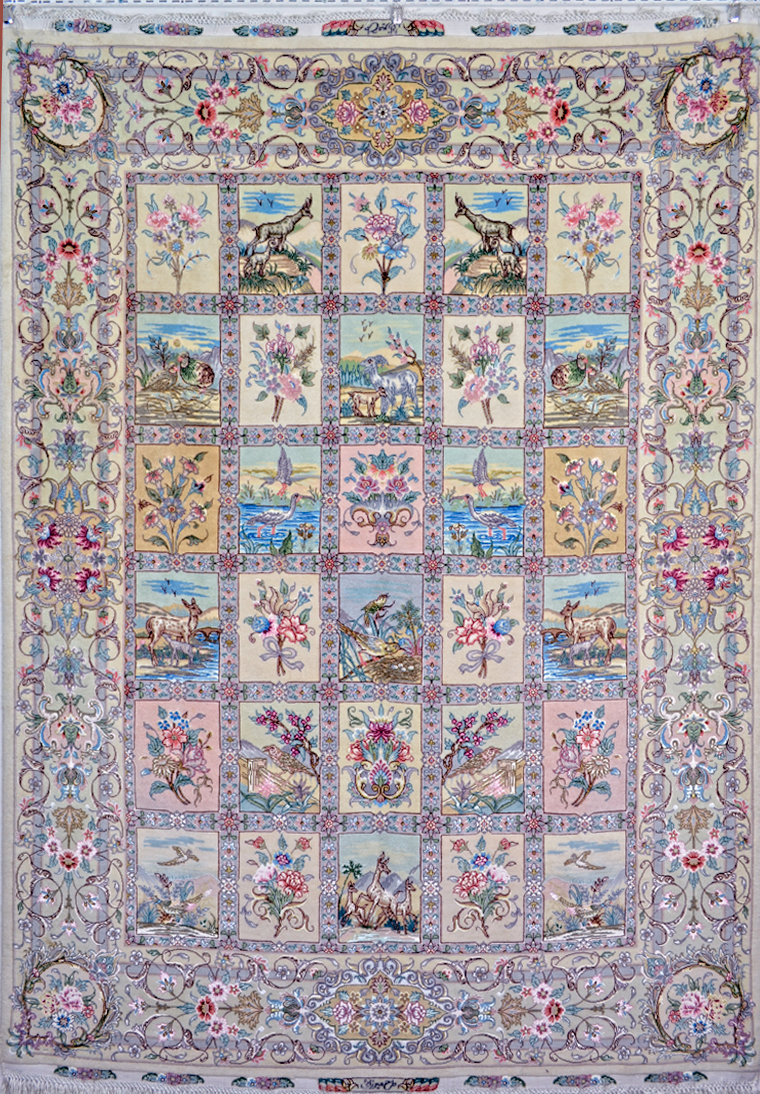 Four-Season-Tabriz-Persian-Silk-Rug