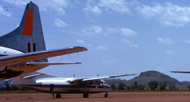 1963-03-17 - The tail of RAAF Convair aircraft A96-313 (The back-up aircraft for the 1963 Royal Tour to Kununurra)
