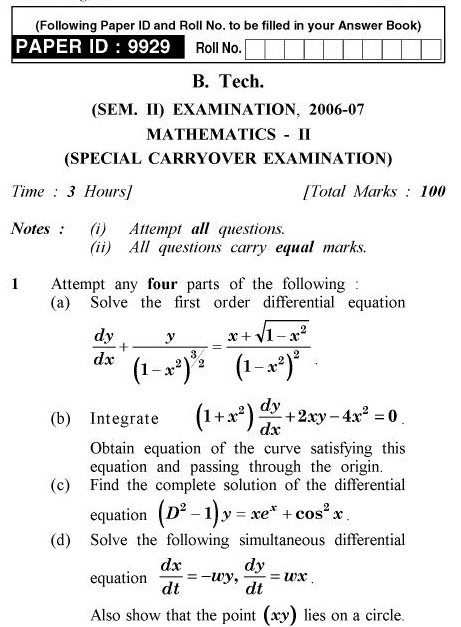 UPTU B.Pharm Question Papers TAS-204 - Mathematics-II (Special Carryover Examination)