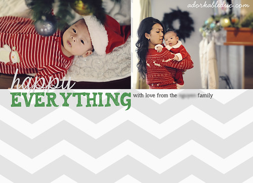 DIY Christmas Card, Holiday with family in chevron, red, and green