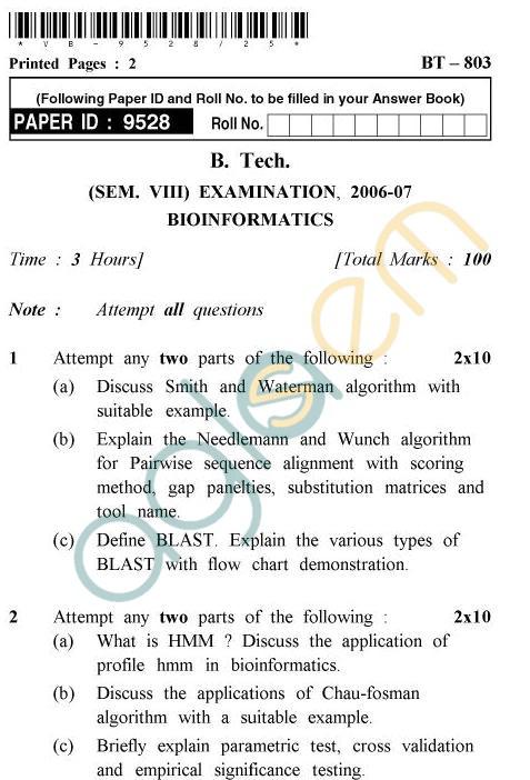 UPTU B.Tech Question Papers -BT-803 - Bioinformatics
