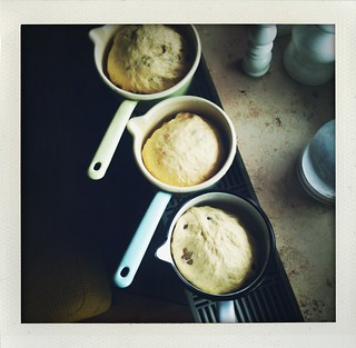 Pottwecks (yeast-based raisin breads baked in a pot) in the making...