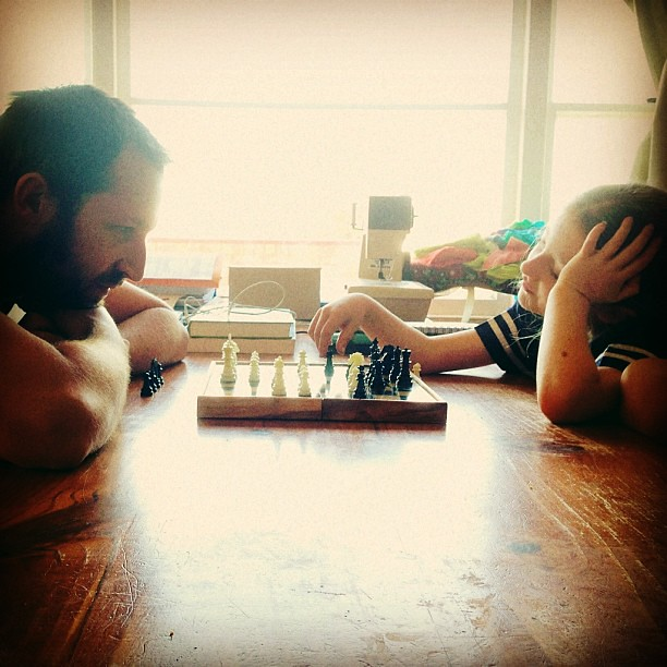 It won't be long before she can beat him #chess #owlets #play #unschooling