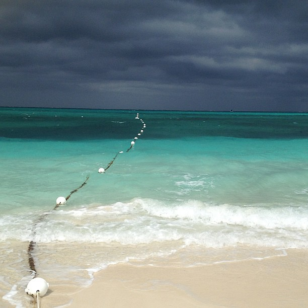 Stormy beach in Turks and Caicos
