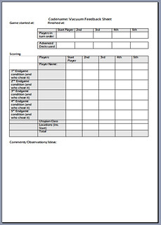 The feedback sheet