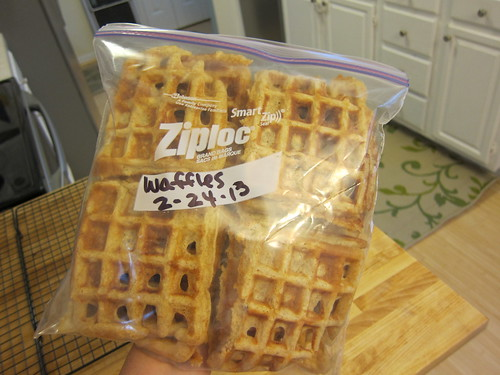 Then Mom slaves over the hot waffle maker for 15 minutes and we have breakfast for the week ready for the freezer