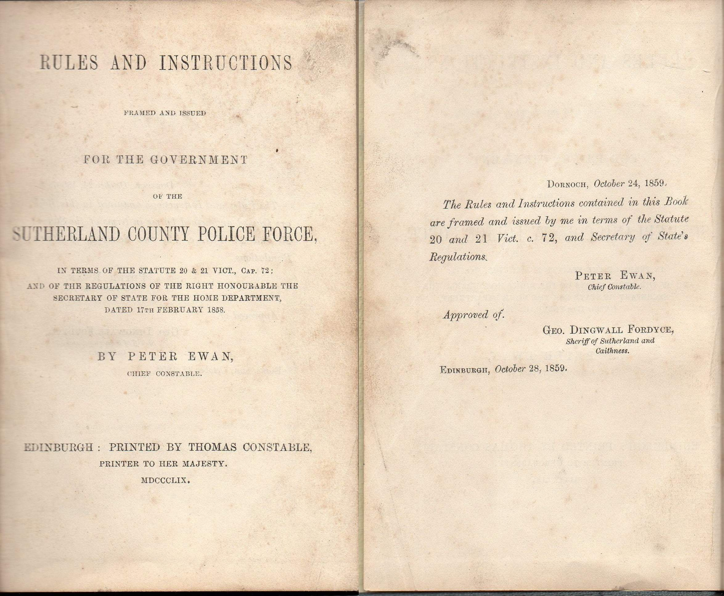 Sutherlandshire Constabulary Rules & Instructions Book 185…