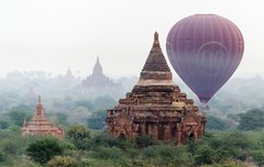 [Free Images] Architecture, Religious Buildings, Temple, Buddhism, Fog / Mist, Transportation, Aircrafts, Balloon (Aircraft), Landscape - Burma / Myanmar ID:201303170000