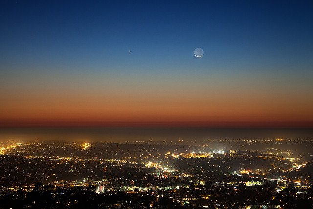 Comet PANSTARRS and Crescent Moon over San Diego