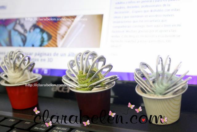 Cactus hechos con argollas o aros de refrescos