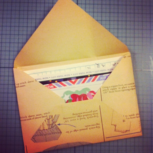 Envelope made of vintage paper