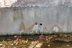石頭公廟牆壁上的水管,不久前還會出水。