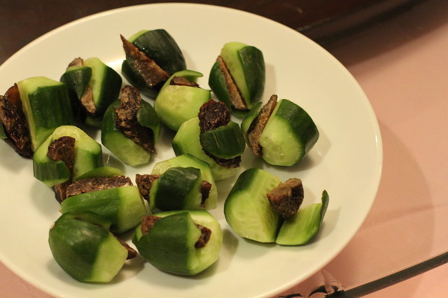 "Cucumber and Plum ""betelnuts"""