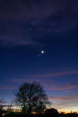 Jupiter, Venus and crescent moon setting