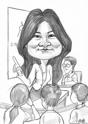 farewell caricature for SMU professor