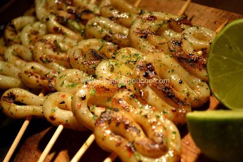 Brochettes de Calamars Grillés au Citron Vert L'Eau à la