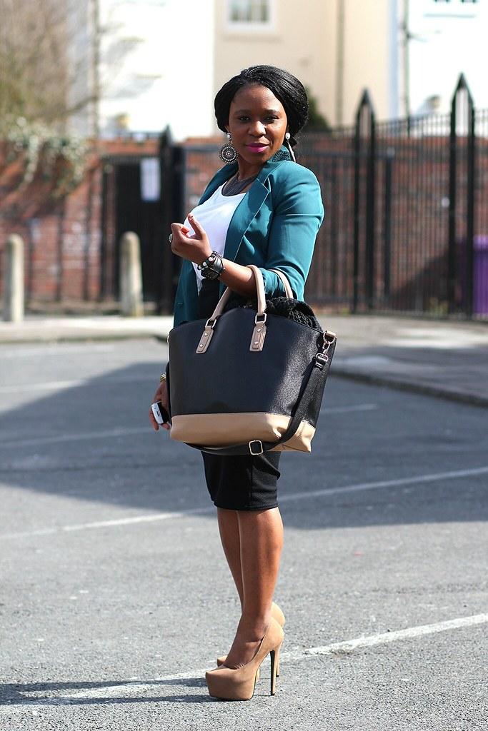 Teal Green Blazer, white top, black high waist pencil skirt, tote bag & beige heels