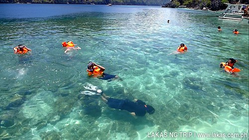Swimming at Talisayen Beach at El Nido, Palawan