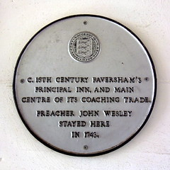 Photo of John Wesley white plaque