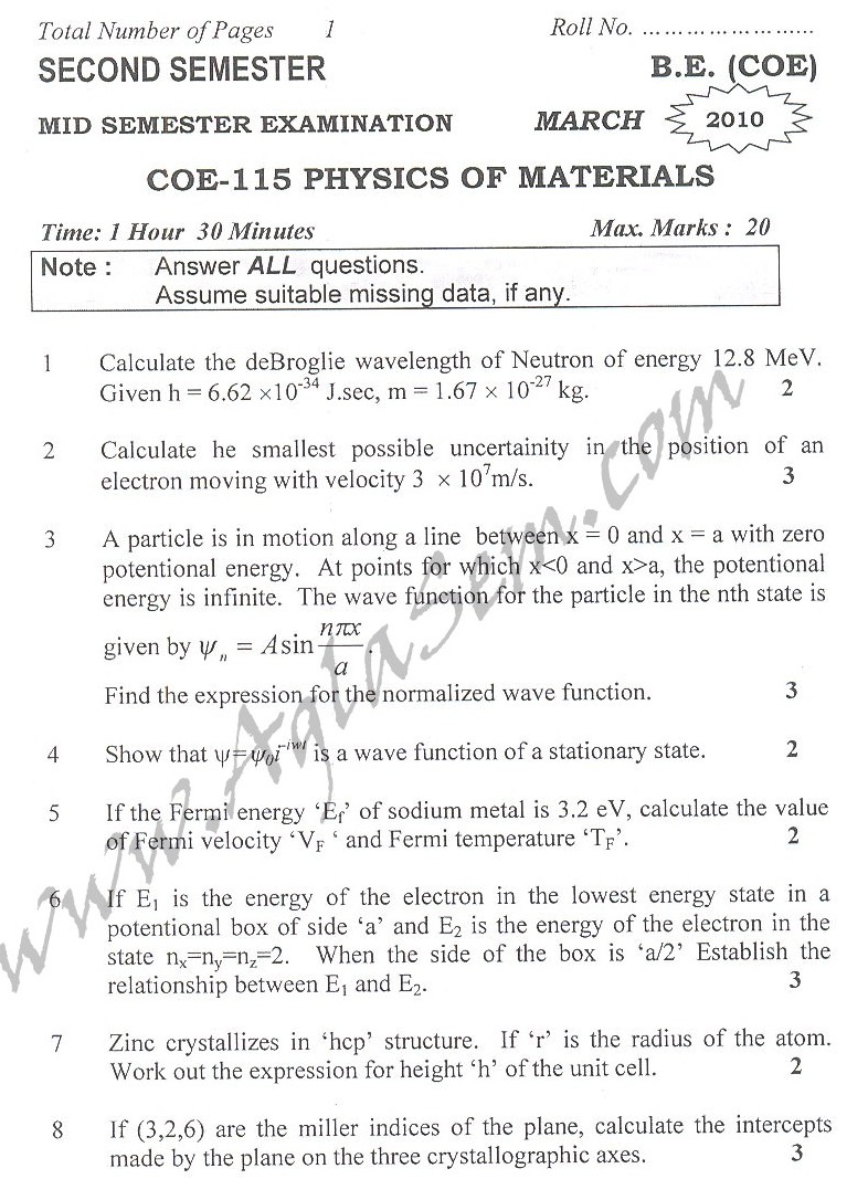 DTU Question Papers 2010 – 2 Semester - Mid Sem - COE-115