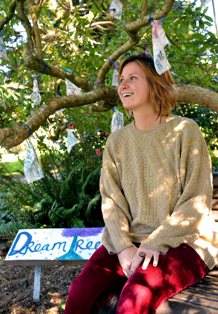 SF State student Danielle Barnett created the Dream Tree for her holistic health internship class. The dream tree located between Cesar Chavez Center and the business building at SF State is for students to write their dreams on scraps of fabric and tie them in the tree.  There will be a meditation and ceremony on Monday, May 13, 2013 from 11 a.m. to 12 p.m. Photo by Samantha Benedict / Xpress