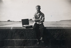Alan with a hired radio on Jersey seafront 1956