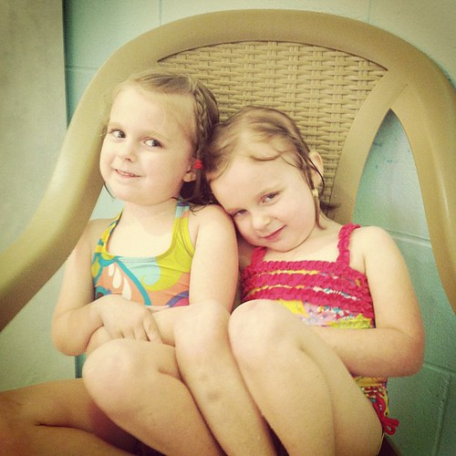 Sweet girls after swim lessons yesterday