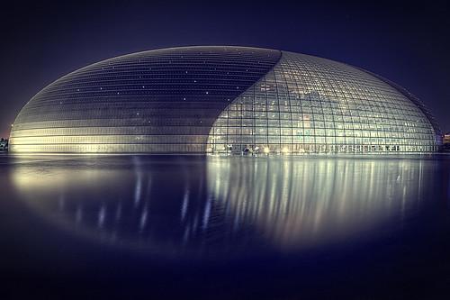 china travel motion reflection water night pod egg beijing operahouse