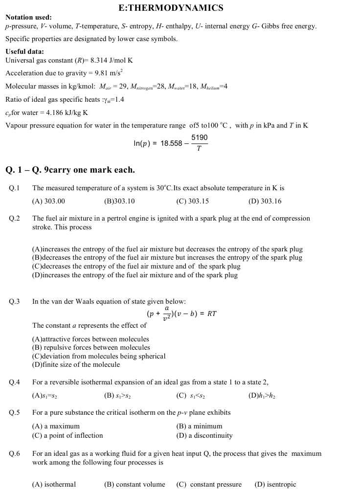 GATE 2013 Question Papers with Answers   Engineering Sciences [XE] in gate  Category