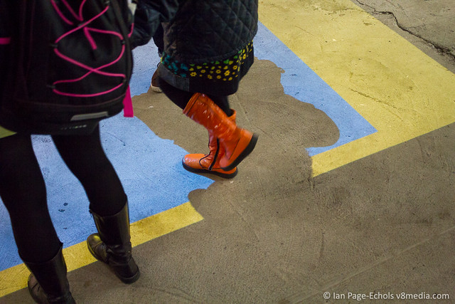 Mother May I - Red Boots, Blue and Yellow Projection