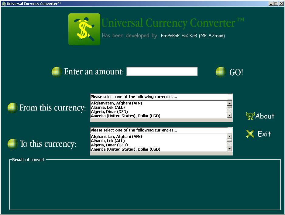 برنامج لتحويل العملات الماليه