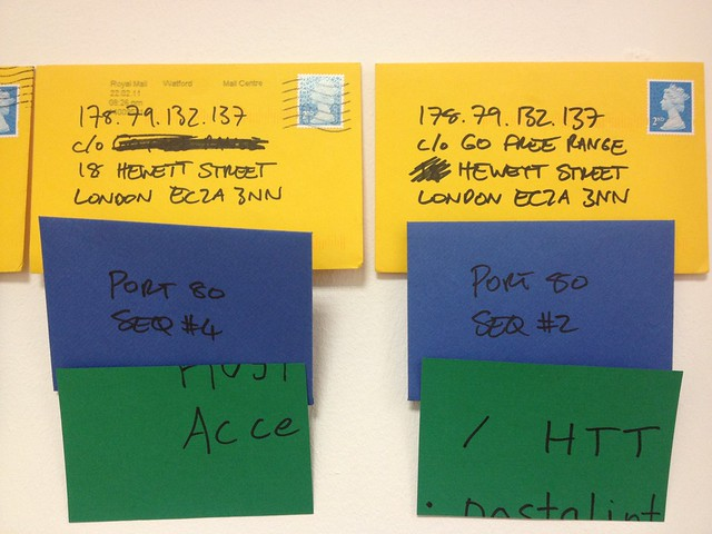 Packets 5 and 6 of a very elaborate reimplementation of TCP/IP over the postal system