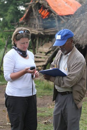 Chicken health team member at work in Ethiopia