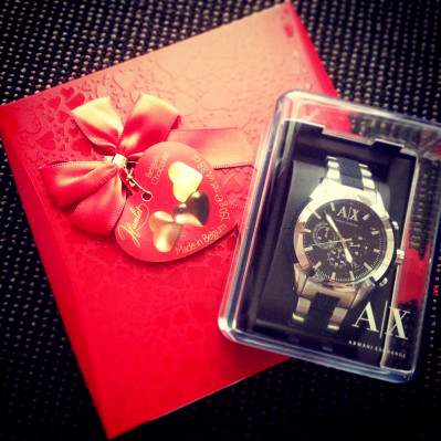 Valentine's Surpris: Armani Exchange Men's Watch and Heart Chocolate