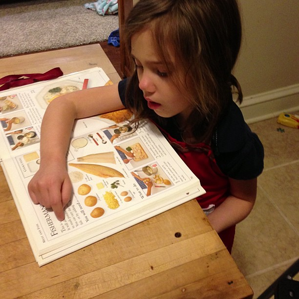 Reading the recipe!