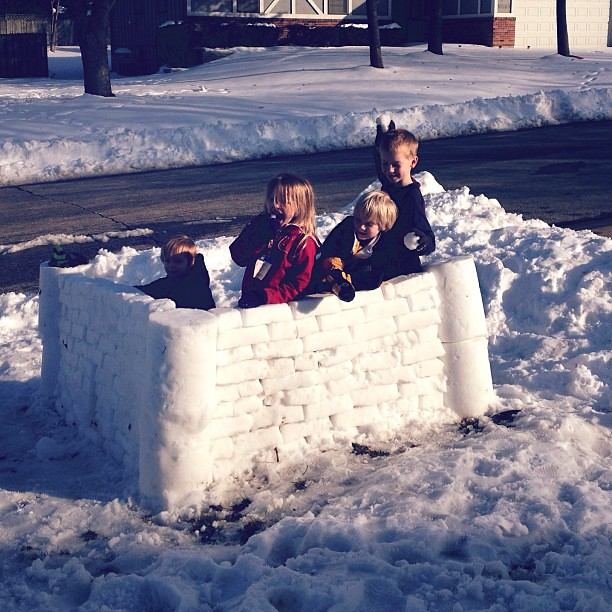 Building snow forts with the neighbors!