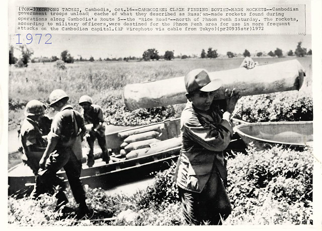 1972 Cambodian Troops Find Cache of Russian-Made Rockets - Press Photo